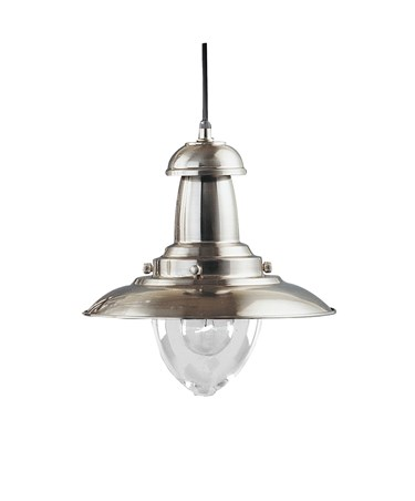 Searchlight Fisherman Single Pendant Light - Satin Silver - Glass Shade