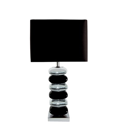 Searchlight Pillow Stacked Table Lamp -  Black & Chrome Base - Black Shade