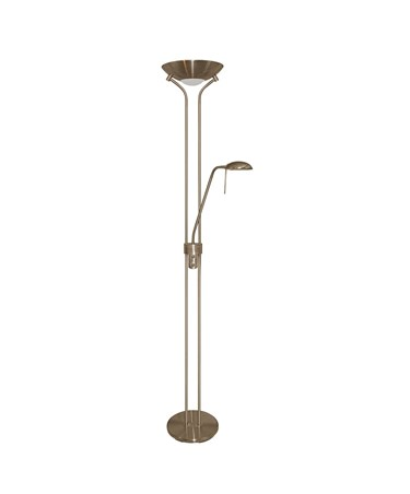 Searchlight Mother & Child Floor Lamp - Antique Brass - Double Dimmer