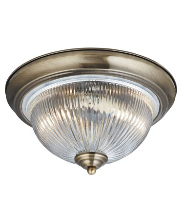 Searchlight American Diner Flush Ceiling Light - Antique Brass - Opaque Glass