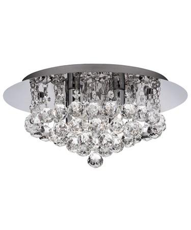Searchlight Hanna Semi Flush Ceiling Light - Chrome - Clear Crystal Balls - Ip44