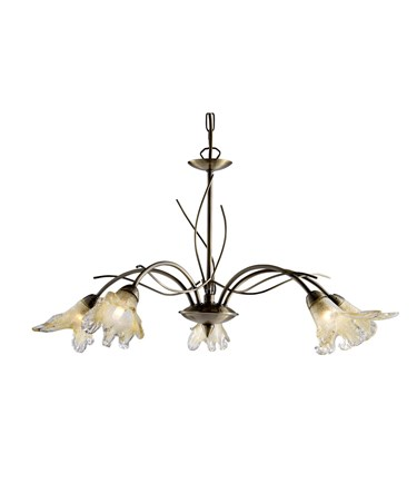 Searchlight Lily  Ceiling 5 Light Pendant - Antique Brass- Amber Frosted Petal G