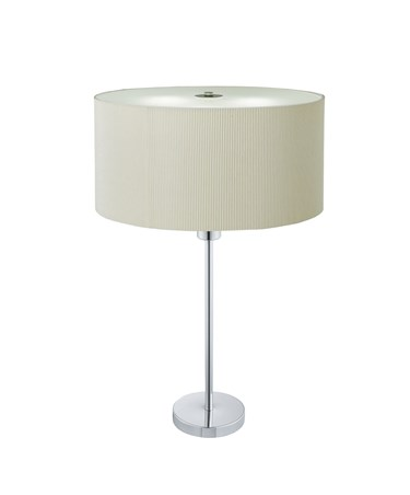 Searchlight Drum Pleat Table Lamp - Cream Pleated Shade - Chrome Base