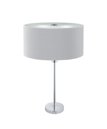 Searchlight Drum Pleat Table Lamp - Silver Pleated Shade - Chrome Base