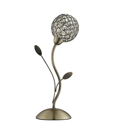 Searchlight Bellis Ii Table Lamp - Brass - Clear Deco Glass Shade