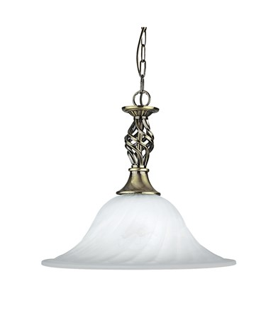 Searchlight Cameroon Single Pendant - Antique Brass -Marble Glass