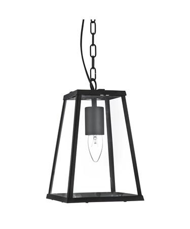 Searchlight Voyager Lantern Single Pendant - Matt Black - Clear Glass - Chain