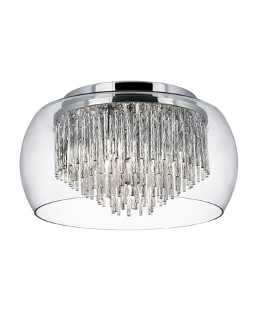 Searchlight Curva 4 Light Ceiling Fitting - Clear Glass - Aluminium Spiral Tubes