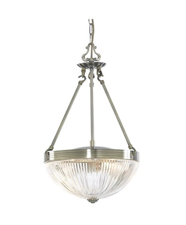 Searchlight Windsor Ii Ceiling Pendant Light - Antique Brass - Ribbed Glass