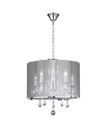 Searchlight Venetian Ceiling 5 Light- Chrome - Silver Shade Chain Links & Glass