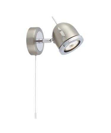 Searchlight Palmer Single Modern Spotlight - Satin Silver & Chrome - Pull Cord