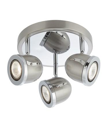 Searchlight Palmer Triple Ceiling Round Spotlight - Satin Silver & Chrome Trim