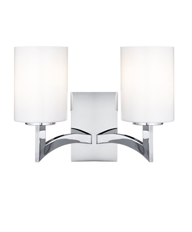 Searchlight Gina Double Wall Light - Chrome - White Glass Cylinder Shades