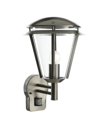 Endon Inova PIR Outdoor Wall Light - Brushed Stainless Steel - IP44