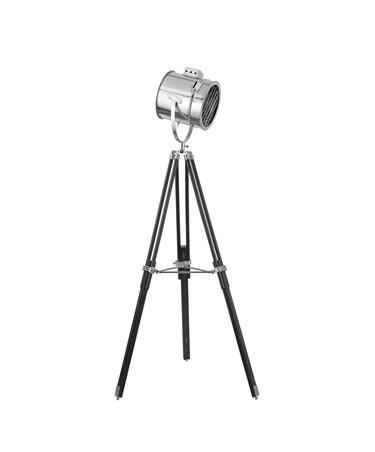Searchlight Adjustable Stage Light Large Head Floor Lamp - Chrome - Black Tripod