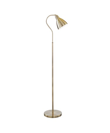 Searchlight Adjustable Floor Lamp - Large Metal Head - Antique Brass