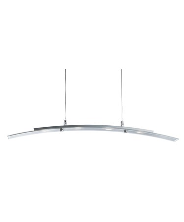 Searchlight LED Curved Pendant Bar 4 Light - Frosted Glass With Clear Edge