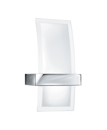 Searchlight Curved Glass Modern Wall Light - Chrome - Clear & Frosted Glass