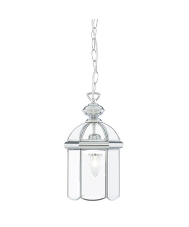 Searchlight Domed Lantern Single Candle Pendant - Chrome - Bevelled Glass