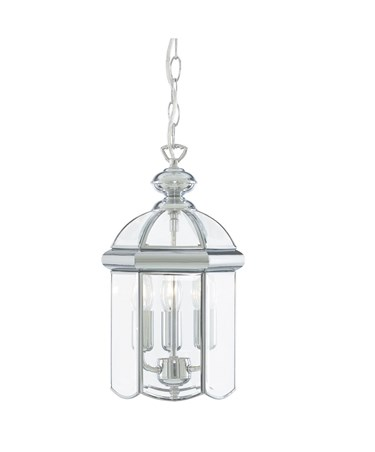 Searchlight Domed Lantern 3 Candle Pendant - Chrome - Bevelled Glass
