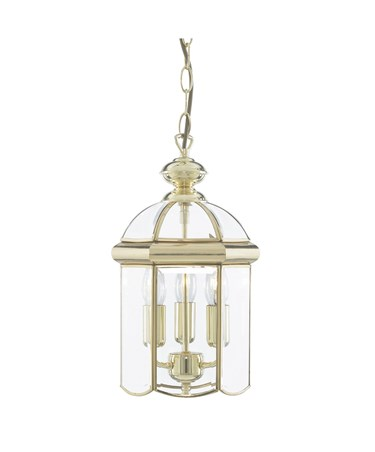 Searchlight Domed Lantern 3 Candle Pendant - Polished Brass - Bevelled Glass