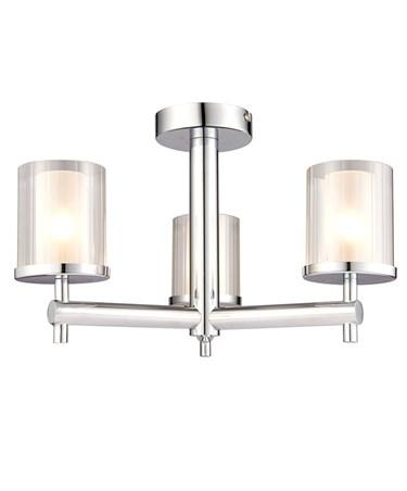Endon Britton Semi Flush Bathroom Ceiling Light - Chrome - 3 Light - IP44