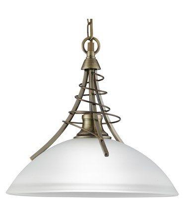Searchlight Linea Antique Brass Twist Pendant Complete With Acid Shade