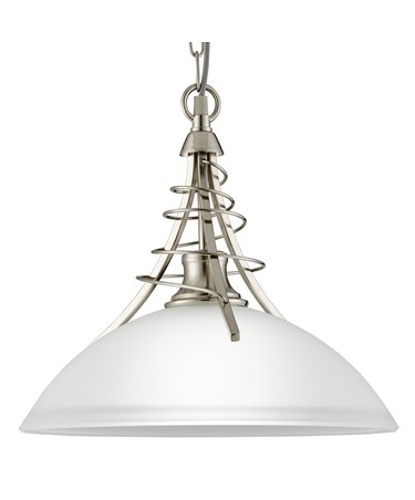 Searchlight Linea Satin Silver Twist Pendant Complete With Acid Shade