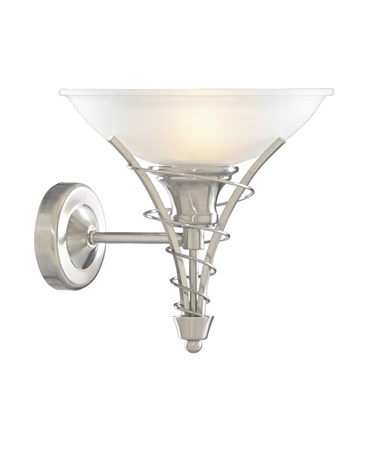 Searchlight Linea Satin Silver Wall Light Complete With Acid Shade