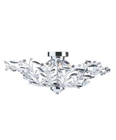 Searchlight Lima Semi Flush 6 Light - Chrome - Floral Design
