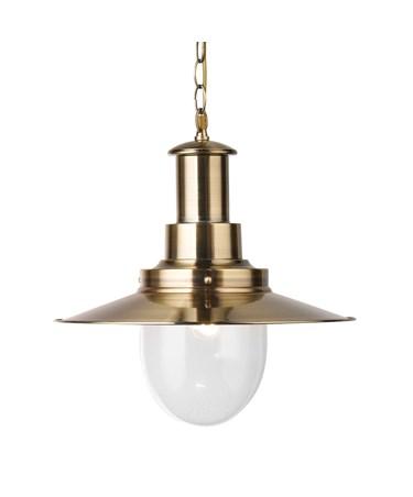 Searchlight Fisherman Single Pendant Light - Antique Brass - Glass Shade - Large