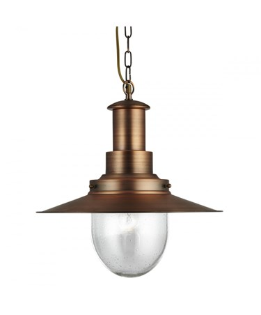 Searchlight Fisherman Single Pendant Light - Copper - Glass Shade - Large
