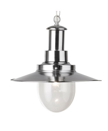 Searchlight Fisherman Single Pendant Light - Satin Silver - Glass Shade - Large