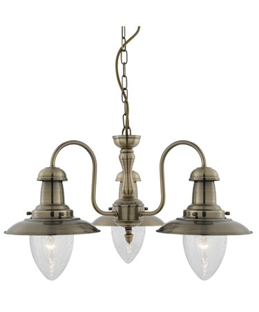 Searchlight Fisherman 3 Light Ceiling Pendant - Antique Brass - Glass Shades