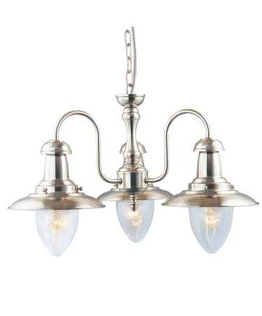 Searchlight Fisherman 3 Light Ceiling Pendant - Satin Silver - Glass Shades