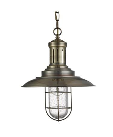 Searchlight Fisherman Single Pendant Light - Antique Brass - Caged Glass Shade
