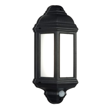 Endon Halbury LED PIR Traditional Outdoor Wall Light - Matt Black - IP44