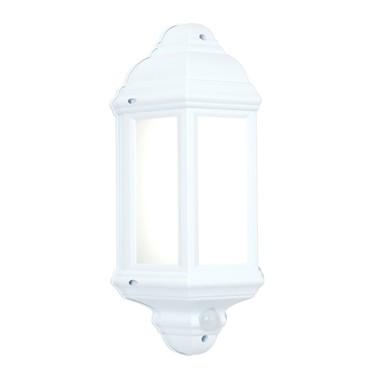 Endon Halbury LED PIR Traditional Outdoor Wall Light - Matt White - IP44