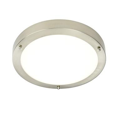 Endon Portico LED Bathroom Ceiling Light - Natural White & Satin Nickel