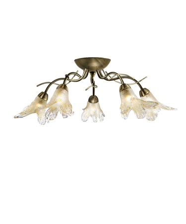 Searchlight Lily  Semi Flush 5 Light - Antique Brass- Amber Frosted Petal Glass
