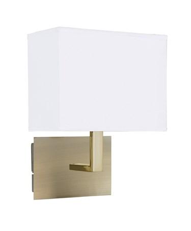 Searchlight Rectangle Wall Light - Antique Brass - White Rectangular Shade