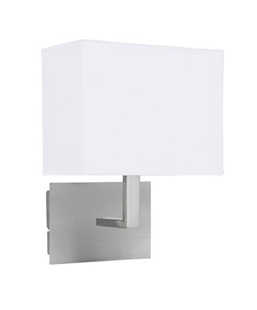 Searchlight Rectangle Wall Light - Satin Silver - White Rectangular Shade