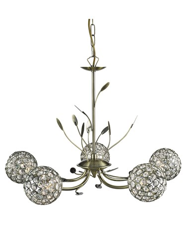 Searchlight Bellis Ii 5  Light Ceiling Pendant - Antique Brass - Glass Shades