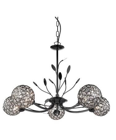 Searchlight Bellis Ii 5  Light Ceiling Pendant - Black Chrome - Glass Shades