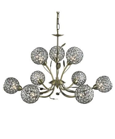 Searchlight Bellis Ii 9 Light Ceiling Pendant - Antique Brass - Glass Shades