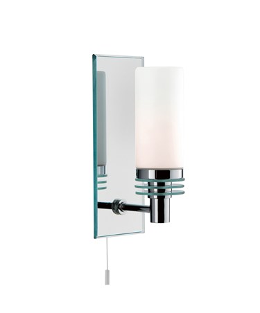 Searchlight Bathroom Wall Light - Chrome Mirrored Backplate - White Glass