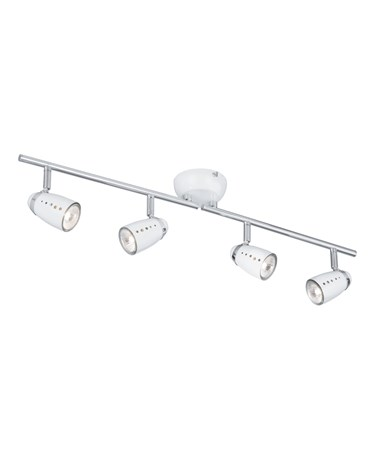 Searchlight Pluto Adjustable Bar 4 Spotlight - White & Chrome Eggs - Split Bar