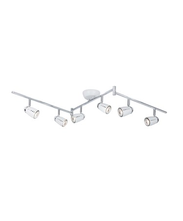 Searchlight Pluto Adjustable Bar 6 Spotlight - White & Chrome Eggs - Split Bar