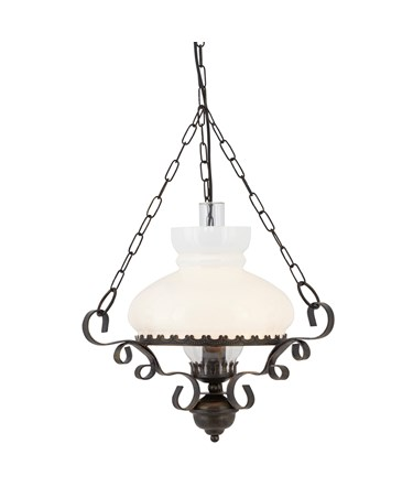 Searchlight Rustic Wrought Iron Oil Lantern Style Light - Opal Glass Diffuser