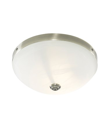Searchlight Windsor Flush Ceiling Light - Antique Brass - Alabaster Glass
